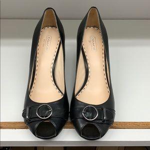 "Coach sz 9 black peep toe pump 3.5"" heel"